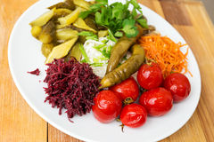 A plate with pickles stock photo