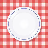 Plate on a picnic tablecloth. Empty plate on a red checkered tablecloth Stock Image
