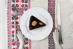 Plate with piece of chocolate cake. Royalty Free Stock Photo