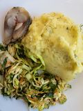 Plate with piece of herring, potato mash , cabbage salad mixed with carrots and dandelion leaves. Top view on plate with piece of herring, potato mash , cabbage stock images