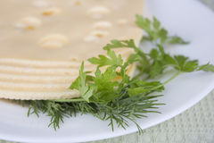 Plate with pieces cheese Royalty Free Stock Photos