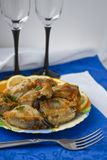 The plate with pieces of the fried fish Stock Photos