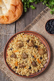 Plate of pilaf, traditional turkish spicy food Royalty Free Stock Photography