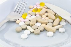 Plate of Pills Royalty Free Stock Photos