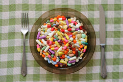 Plate with Pills Royalty Free Stock Photography