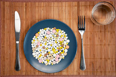 Plate with pills Stock Images