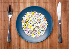 Plate with pills Stock Photography
