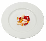 Plate with pills Royalty Free Stock Photos
