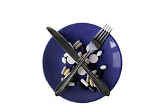 Plate with pills Stock Image