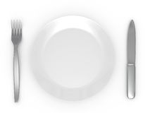 Plate with a plug and a knife Royalty Free Stock Images