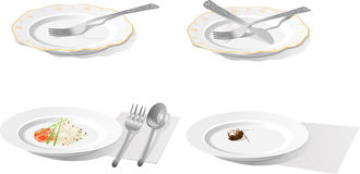 Plate with plug, knife, spoon, rice and cockroach vector illustration