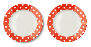 Plate with polka dot red border isolated Stock Images