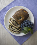 Plate of poppy strudel and blueberry royalty free stock photos