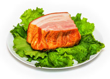 Plate with pork brisket and salad Royalty Free Stock Image