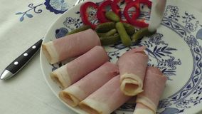 Plate of pork sliced ham stock video