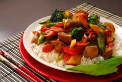 Plate of pork stir fry Stock Photo