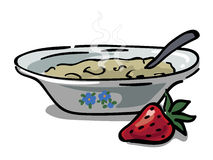 Plate with porridge. Plate with homemade hot porridge and strawberries for breakfast, vector Royalty Free Stock Photo