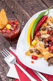 Plate with Portion of fresh Nachos Royalty Free Stock Photo