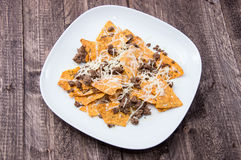Plate with Portion of fresh Nachos Stock Images