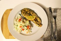 Plate with a portion of red fish Stock Photography
