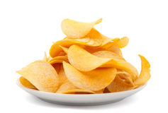 Plate of potato chips isolated stock photo