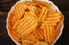Plate of potato chips Royalty Free Stock Images