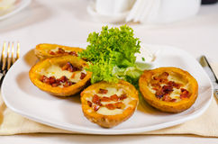 Plate of Potato Skins Appetizer Stock Photo