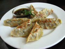 Plate of potstickers in restaurant. Plate of potstickers in Chinese restaurant Stock Photography