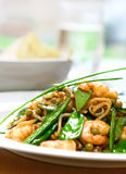 A plate of prawn stir fry noodles Royalty Free Stock Image