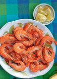 Plate with prawns close-up. healthy Eating Royalty Free Stock Photography