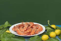 Plate with prawns. Lemons around the plate Stock Image