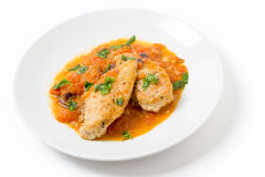 Plate of provencal chicken breasts Royalty Free Stock Photography