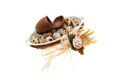 Plate With Quail Eggs And Broken Chocolate Egg Royalty Free Stock Images