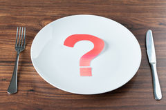 Plate With A Question Mark On Desk Royalty Free Stock Photography