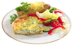 Plate of Quiche with baked potato Stock Photo
