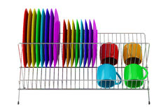 Plate rack with multicolor tableware isolated on white Stock Photos