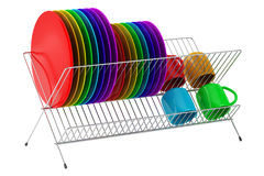Plate rack with multicolor tableware isolated on white. Background royalty free illustration