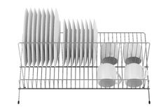 Plate rack with tableware isolated on white. Background Stock Photography  sc 1 st  Dreamstime.com & Stack White Plate Dishes Isolated White Stock Illustrations \u2013 49 ...