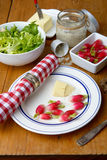 Plate with radish and butter. On a table Royalty Free Stock Image