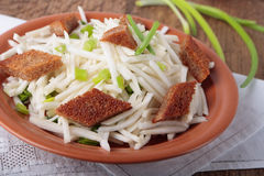 Plate of radish salad with dried crust Stock Images