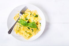Plate of ravioli with basil Royalty Free Stock Photo