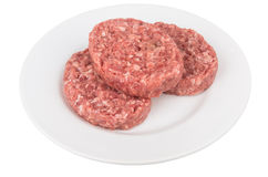 Plate with raw meatballs of ground beef Royalty Free Stock Photos