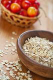 Plate with raw oatmeal Royalty Free Stock Images