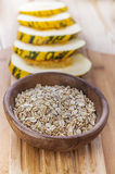 Plate with raw oatmeal Royalty Free Stock Image