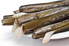 A plate of razor clams. Stock Photo