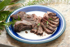 A plate of real elk meat, unique dish Stock Images