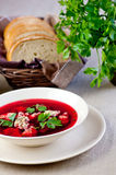 Plate of red borscht Stock Photos