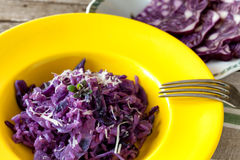 Plate With Red Cabbage Risotto Royalty Free Stock Photography