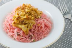 Plate of Red Fried Rice Noodle with Omelet and Scallion Stock Photography