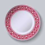 Plate with red ornamental border. Design template in ethnic style Chinese porcelain painting. Vector illustration Stock Photo